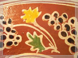 Folk art pottery-Glazed clay plate