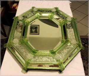 antique octagonal Venetian mirror with green glass ornaments