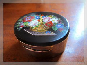 antique silver pillbox with micromosaic inlay