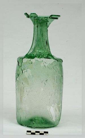Glass bottle ( jug ) from the Roman Age.